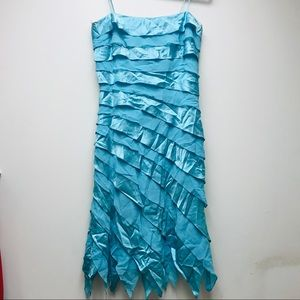 Vintage Tadashi Silk Teal Mermaid Tail Layer Dress